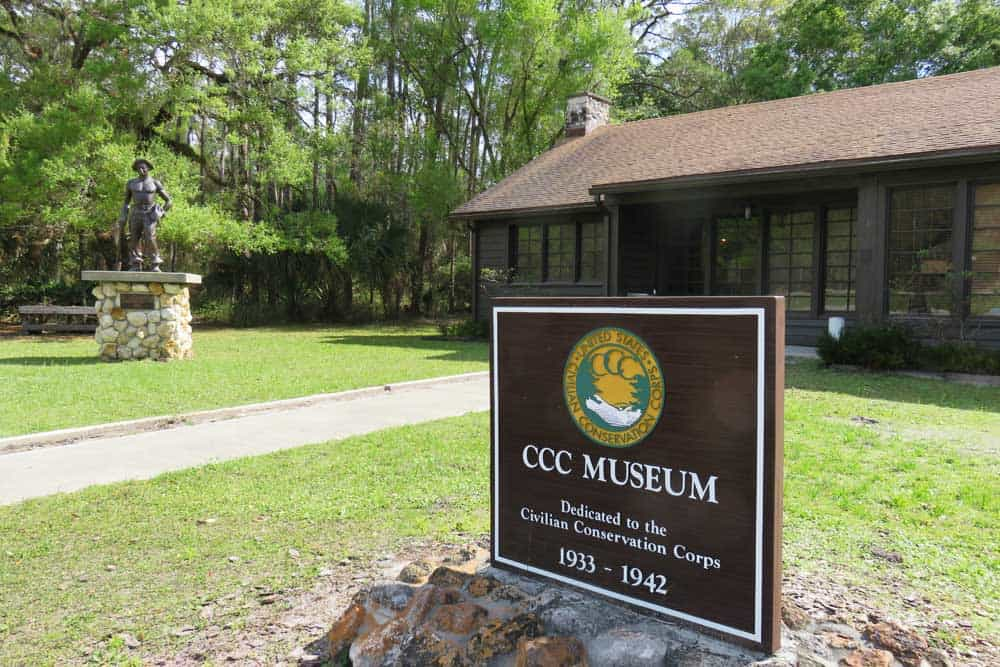 Exterior of Civilian Conservation Corps Museum at Highland Hammocks State Park.
