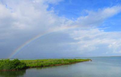 Rainbow viewed along Florida Keys Overseas Heritage Trail near Key West.