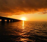 Sunset over the Seven Mile Bridge.