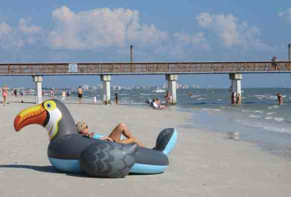 The beach at Fort Myers Beach is wide, flat and concrete hard, you can ride a bike on it (in the morning, before it gets crowded.) (Photo: Bonnie Gross)