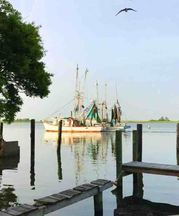 A shrimp boat along the Apalachicola is a reminder that seafood is still an important part of the Apalachicola economy. (Photo: Bonnie Gross)