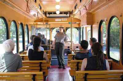 Inside the free Homestead trolley.