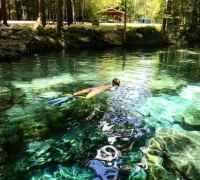 Snorkeling over a spring at Ginnie Springs. (Photo: Bonnie Gross)