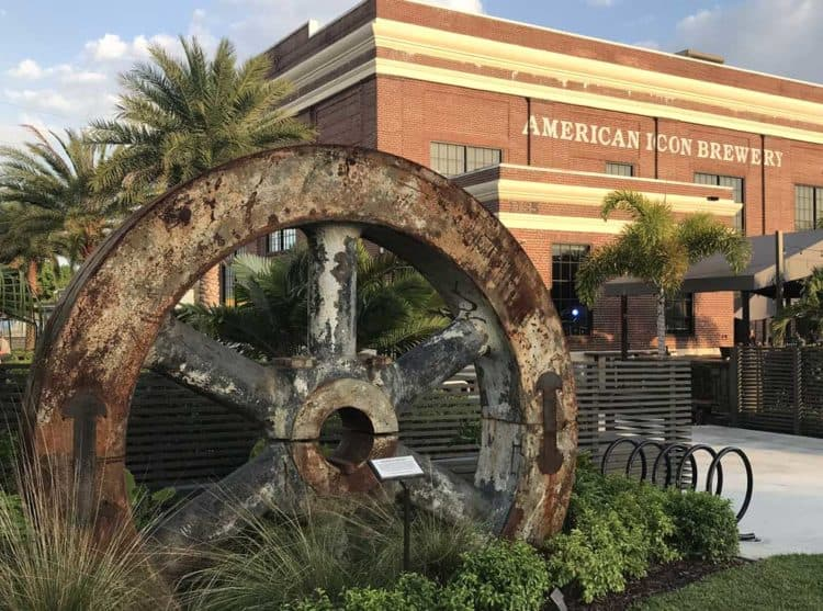 Two blocks off the main street is a great example of a historic building restored and put to a new use – the American Icon Brewery, formerly the 1926 Vero Beach Municipal Power Plant. (Photo: Bonnie Gross)