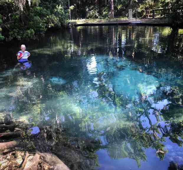 Mud Springs turns out not to be muddy at all, and instead is an circle of clear blue-green water with clouds of white sand bubbling from the spring. (Photo: David Blasco)