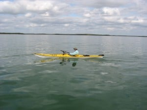 Warren Richey paddles in the gulf off Picnic Key