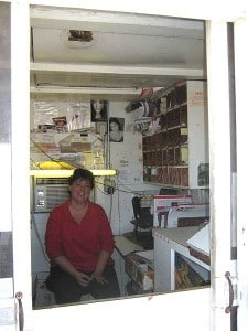 Inside the Ochopee, Florida, post office, smallest in the US