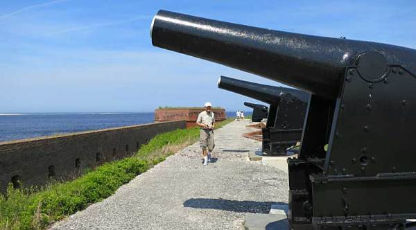 Cannons at Fort Clinch on Amelia Island have a great view of the St. Mary River and Atlantic.