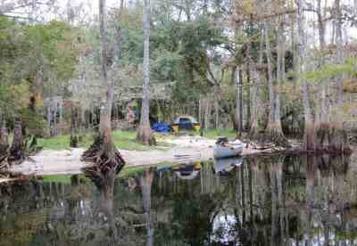 A primitive campsite along Fisheating Creek near Lake Okeechobee.