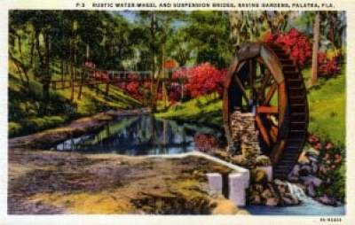 Historic water wheel at Ravine Gardens State Park, Palatka, Florida