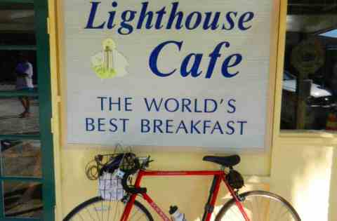 Biking to Sanibel Lighthouse Cafe is a good way to start the day.