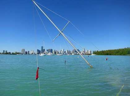 A sunken sailboat in the Miami Marine Stadium basin, Virginia Key.