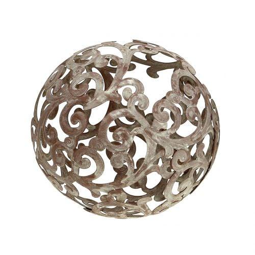 decoration de jardin boule metal rouille o14cm