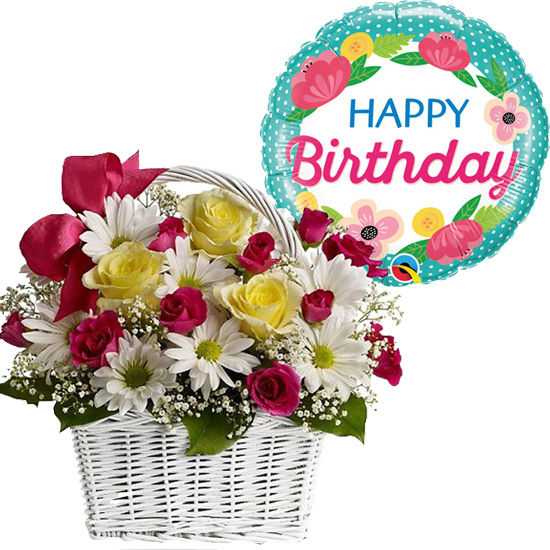 Send Mixed Flowers In Basket With Happy Birthday Balloon To Manila Best Birthday Gift