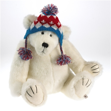 Boyds 16 Inch Plush Polar Bear In Knit Winter Hat 4034608