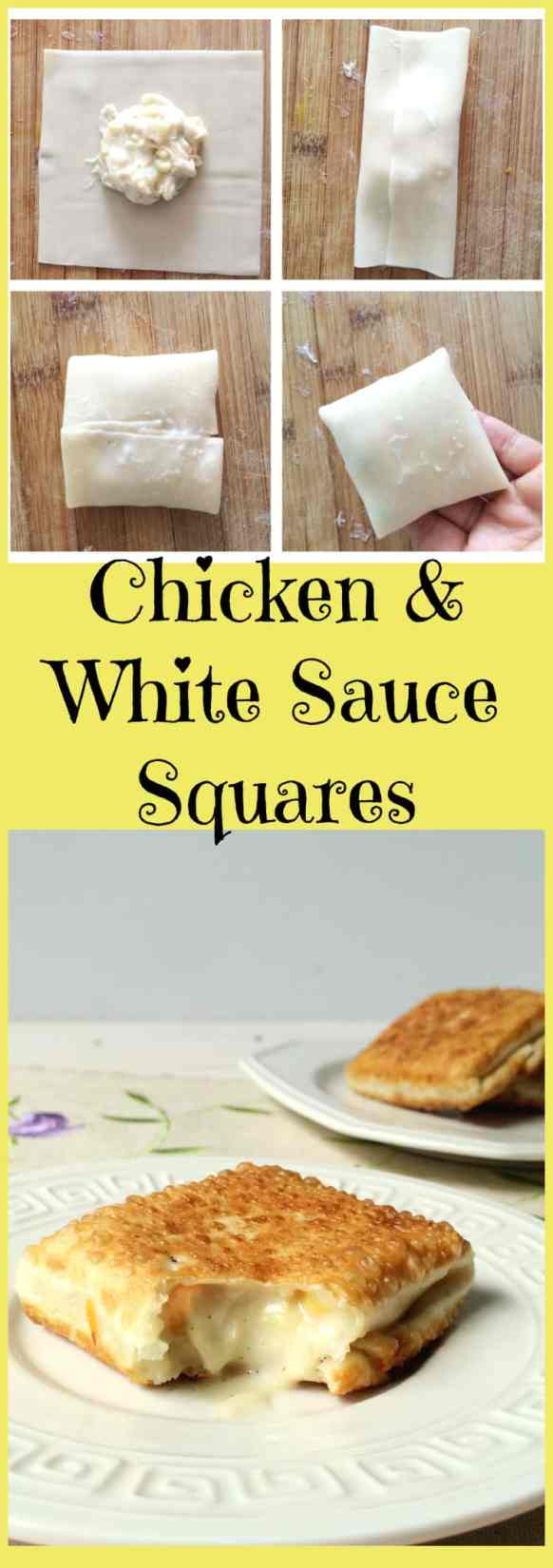 Chicken and white sauce squares