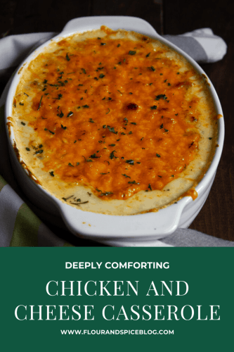 a large dish containing a bechamel based chicken and cheese casserole