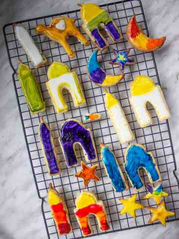painted sugar cookies in an assortment of shapes