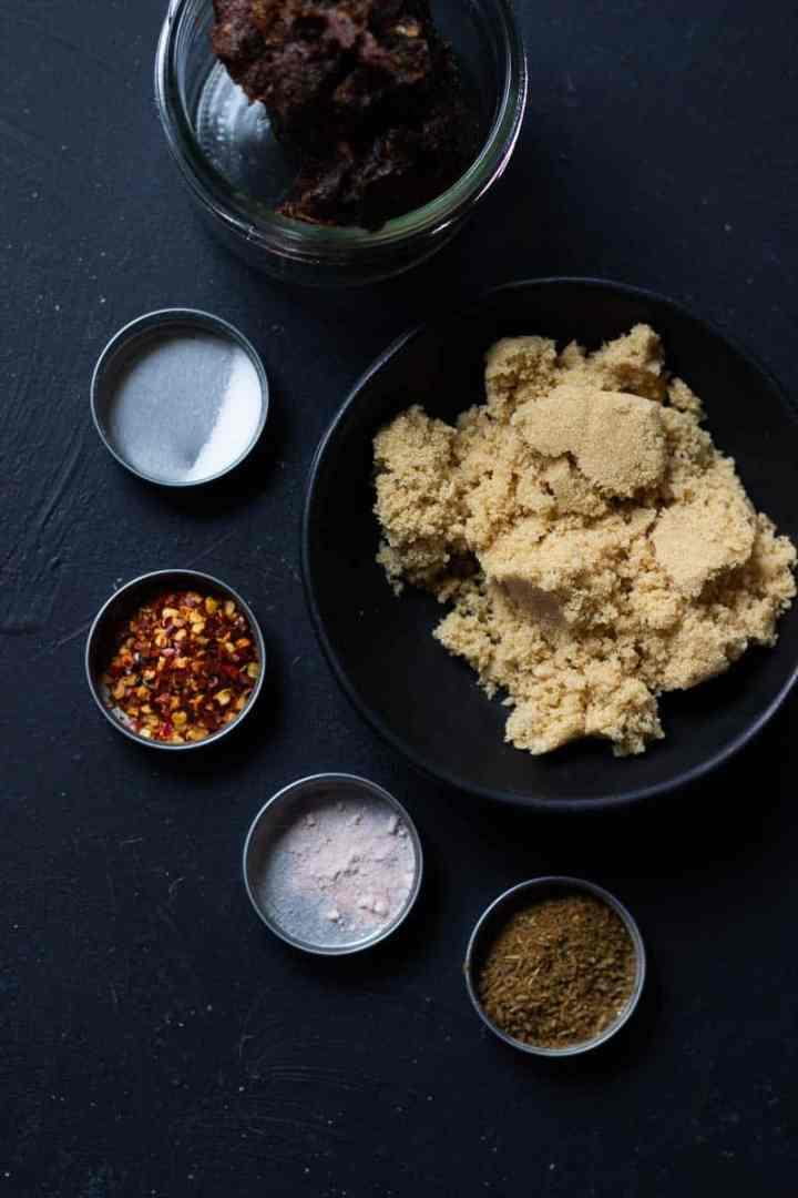 Ingredients for Imli ki Chutney - Imli, Brown Sugar, Roasted Cumin and Coriander, Salt, Pink Salt, and Chilli Flakes.