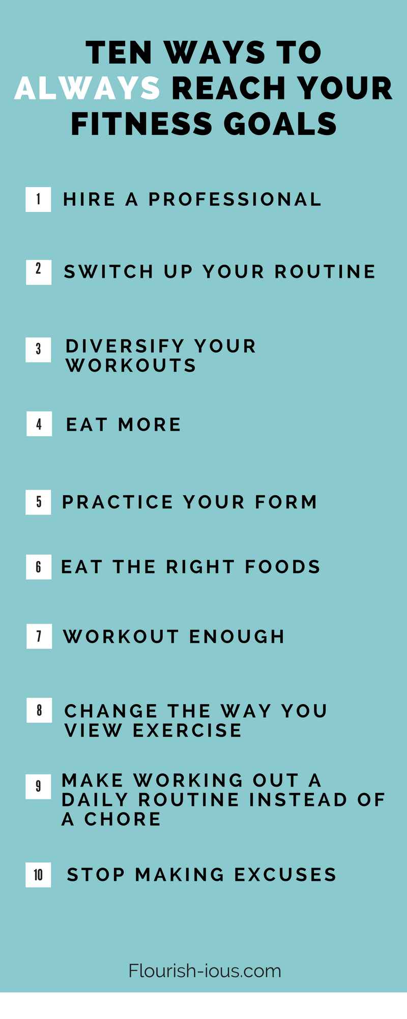 Here's a list of realistic workout ideas to help you have the motivation to challenge your body and reach your personal fitness goals.