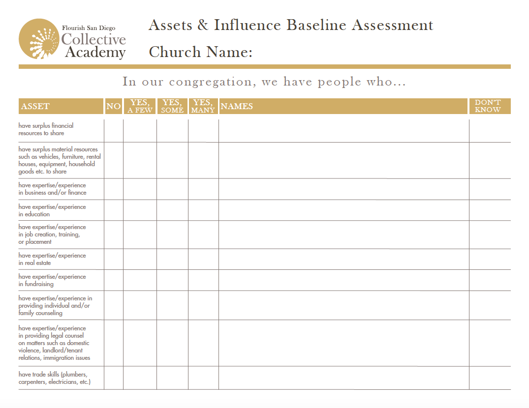Asset Amp Influence Inventory Worksheet