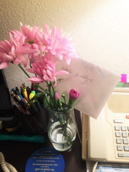 Thank you card and flower