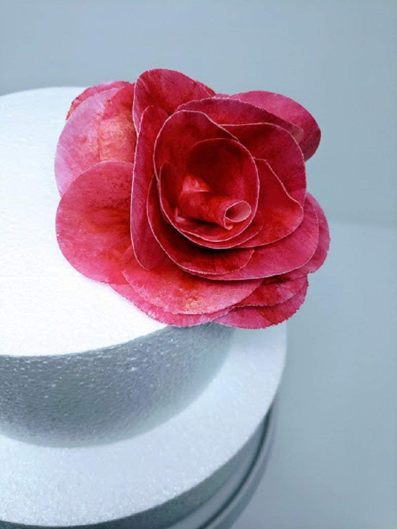 3d Edible Rice Paper Neon Brite Pink Rose Flower For Cake