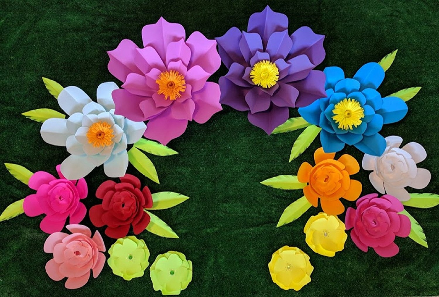 Bright Multicolor Iii Paper Flowers For Backdrops Includes 7 Paper
