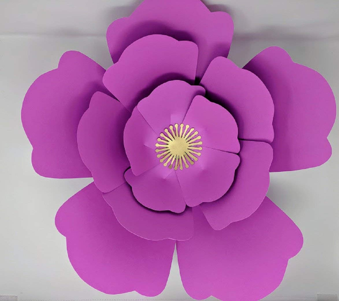 Paper Flower Big Bloom Rose Template With Instructions In English