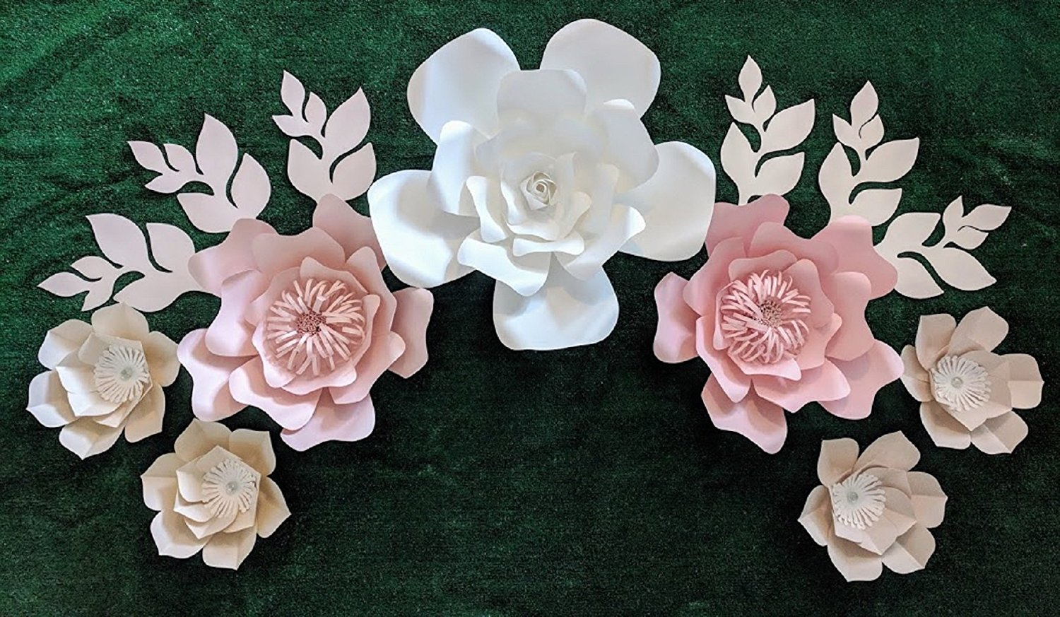 Rose Colors Paper Flowers For Wall Decoration Includes 7 Paper