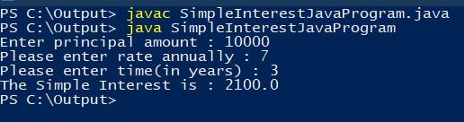 java program to find simple interest