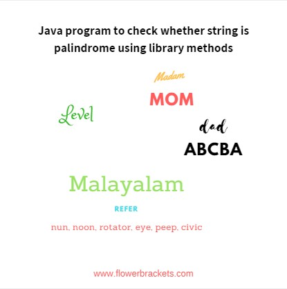 java program to check whether string is palindrome using library methods
