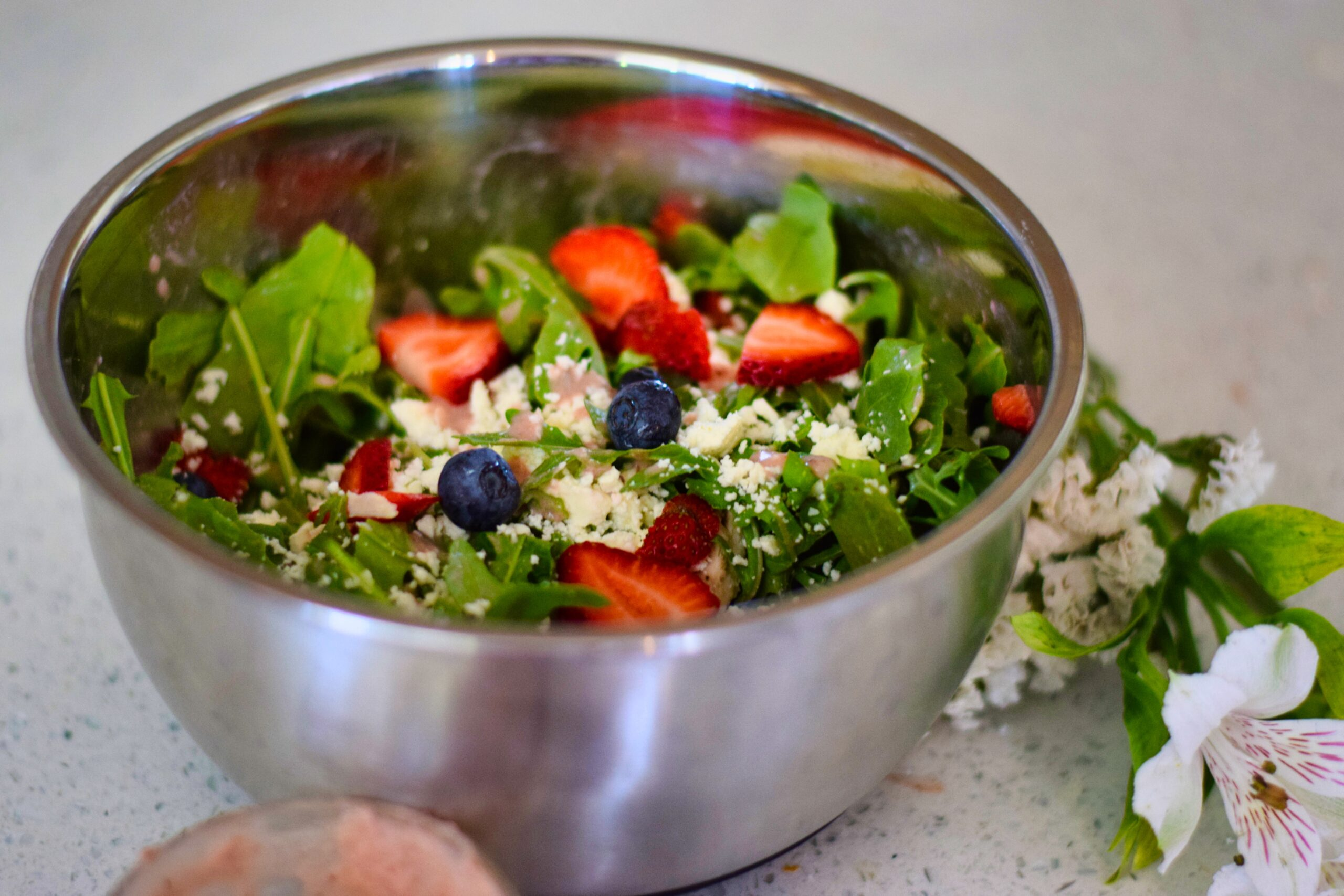 Red, white and blueberry simple salad