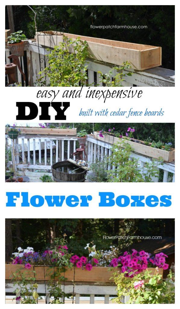 DIY Flower Boxes, built with inexpensive cedar fence boards, FlowerPatchFarmhouse.com