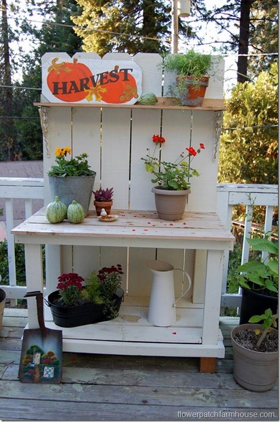 DIY Potting Bench built with cedar fence boards for $45, FlowerPatchFarmhouse.com