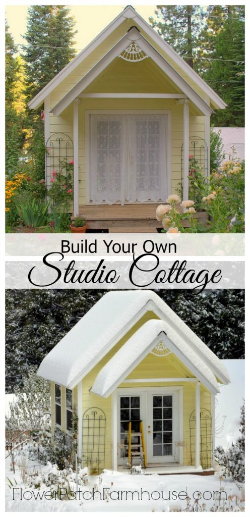 DIY Backyard Garden Cottage Studio or Shed, FlowerPatchFarmhouse.com Build your own fabulous place to create, link to step by step plans in post