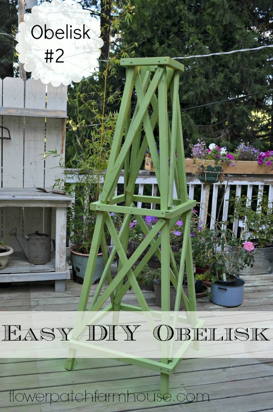 An easy plus affordable DIY Garden obelisk. You can adjust the size to fit your needs. This is the second DIY obelisk style and I like it even better than the first. I have used this for roses, tomatoes, sunflowers and other tall plants that may need some help. #diyobelisk #tuteurtrellis #smallgardenideas