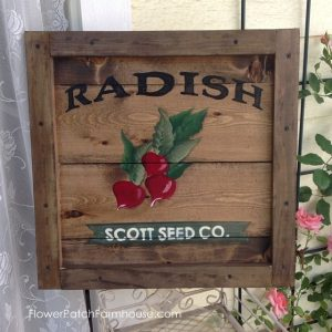 Radish Vintage Crate Seed Packet sign FlowerPatchFarmhouse.com