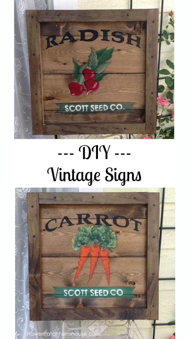 DIY vintage style sign tutorial.  Enjoy painting on pallet style background with an easy framework.  Step by step painting lesson for both the radish and carrot.  Link to pattern for purchase.