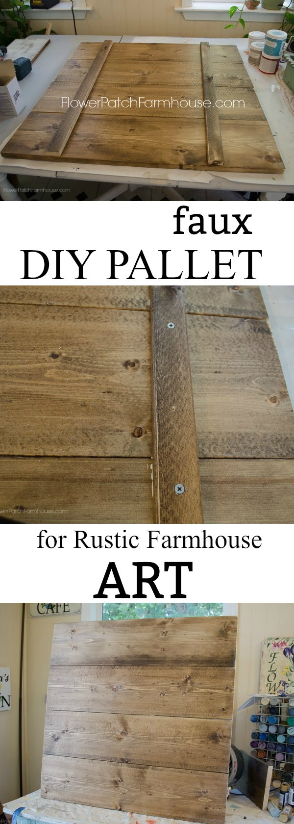 Attach Boards together for Rustic art, Faux pallet for Farmhouse decor.  An easy way to DIY your own surfaces to paint farmhouse cottage decor.