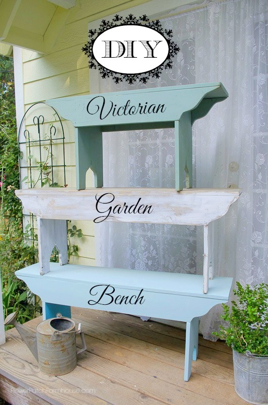 DIY Victorian Farmhouse Garden Bench, plans included in post, FlowerPatchFarmhouse.com