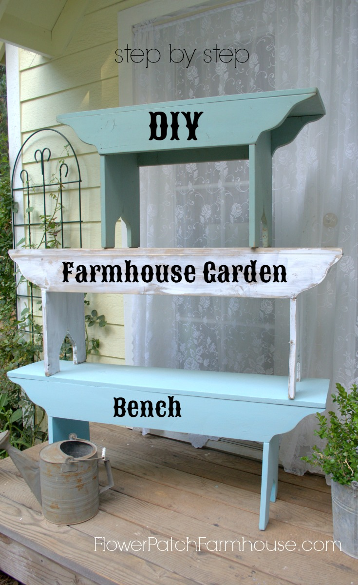 Easy to DIY Farmhouse #Bench.  Customize it to fit your situation with paint, by size or even shape.  Get the free downloadable pattern.  #DIYDecor #gardenbench #cottagegarden