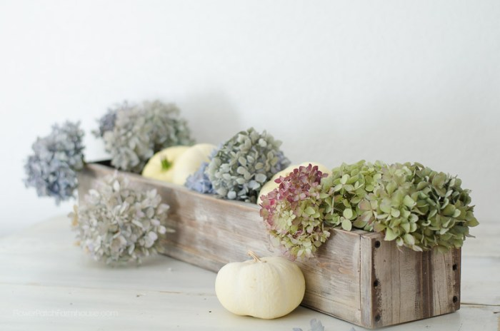 Wood box with hydrangeas,Four easy steps to get a rustic finish on new wood, FlowerPatchFarmhouse.com