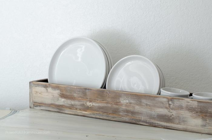 DIY vintage box, plate rack, FlowerPatchFarmhouse.com