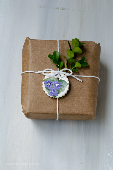 Hand Painted clay gift tags, violets, FlowerPatchFarmhouse.com