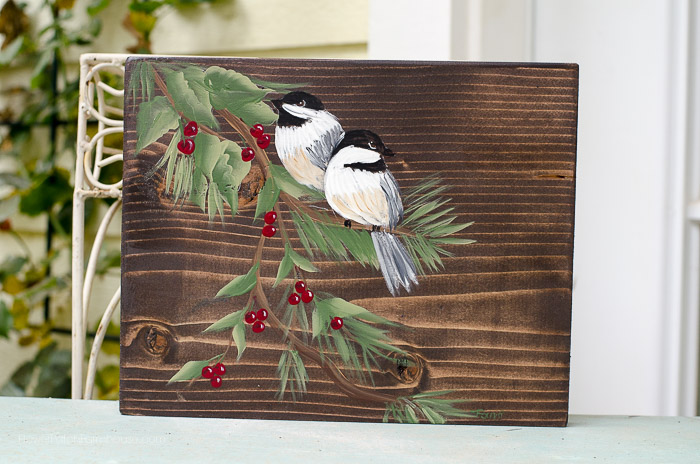 winter chickadees painting, FlowerPatchFarmhouse.com