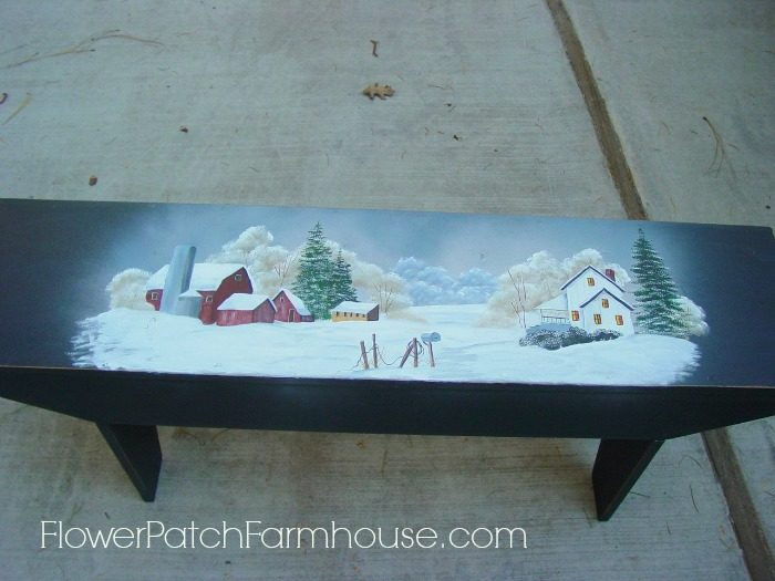 DIY Farmhouse Garden Bench painted with winter scene, FlowerPatchFarmhouse.com