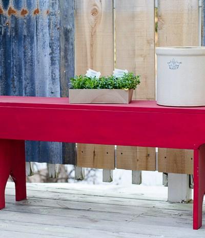 DIY Red Farmhouse Garden Bench, FlowerPatchFarmhouse.com