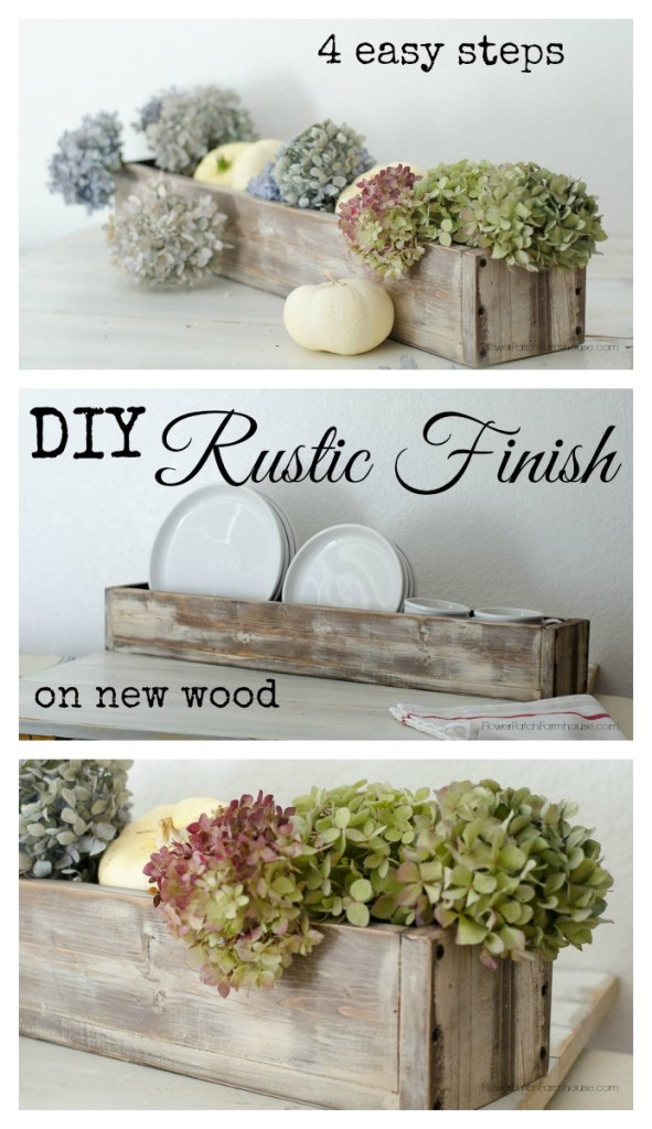 Wood box centerpiece with dried hydrangeas and dishes, DIY Rustic Finish on New Wood in 4 Easy steps, FlowerPatchFarmhouse.com