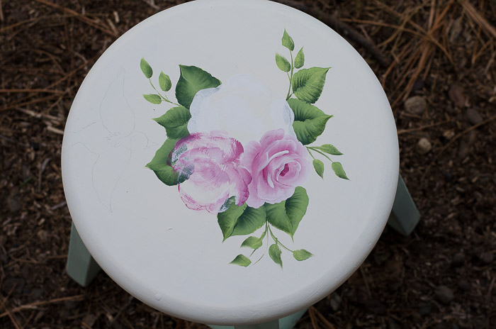 Little green stool and roses, FlowerPatchFarmhouse.com